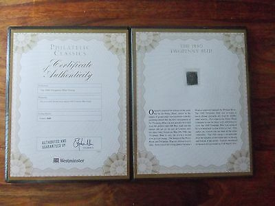 1840 Two Penny Blue Stamp RC Westminster Collection Certificate of Authenticity