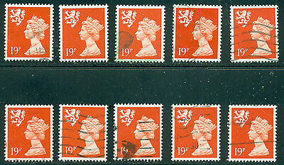 Great Britain Sg-S62, Scotland Scott # Smh-37 Used, 10 Stamps, Great Price!
