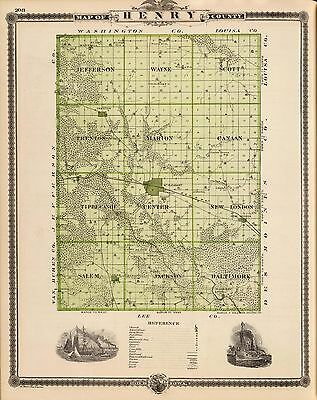 1875 antique Map Henry County State IOWA 178