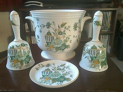 crown staffordshire planter, 2 bells and pin dish in kowloon pattern