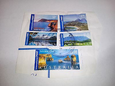 2000 Touristic Attractions in AUSTRALIA FRANKED CANCELLED STAMPS POST ON PAPER