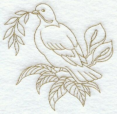 Clearance - Embroidered Horizontal Quilt Block - Dove