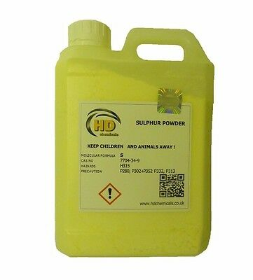 99.99% PURE GRADE Flowers of Sulphur Powder 1.2kg HDPE Jerry Can FREE POSTAGE