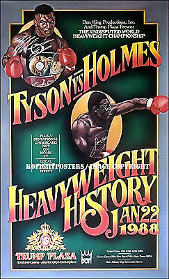 MIKE TYSON  vs  LARRY HOLMES / Authenitic Dual Signed Onsite Boxing Fight Poster