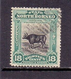 North Borneo. 18c Blue-green & black. Used (cancelled to order). 1909/23