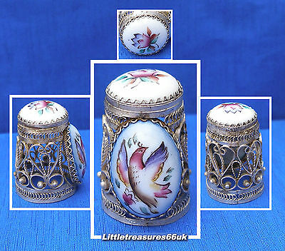 Russian Hand Painted Exotic Bird Filigree Thimble.....