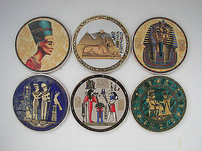 Vintage Set 6 Ceramic Souvenir Coasters From Egypt In A Box