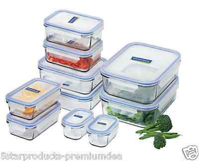 NEW GLASSLOCK 10 pc CONTAINER SET CONTAINERS LIDS BPA FREE FOOD STORAGE GLASS