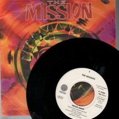 "MISSION Never Again 7"" VINYL B/W Beautiful Chaos Textured Sleeve And Jukebox"