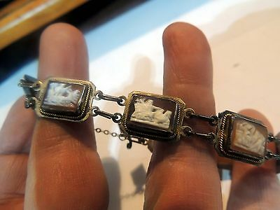 Antique Silver Carved Shell Cameo Panel Bracelet