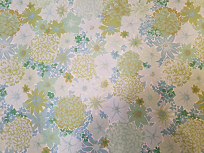 vintage wall paper blue flowers 1970's