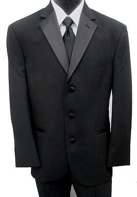Black Perry Ellis Satin Notch Lapel Tuxedo Jacket Wedding Prom Mason Choose Size