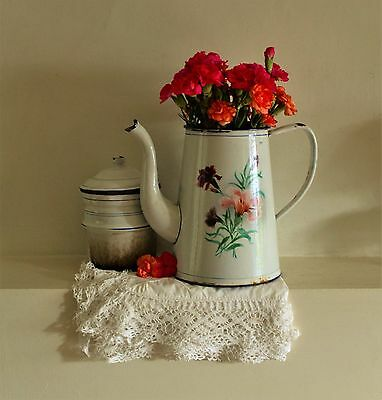Vintage Large Romantic French Enamel Coffee Pot With Carnations