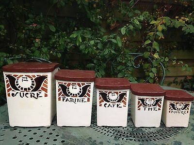 Fabulous set of 5 French Vintage Ceramic Storage Jars