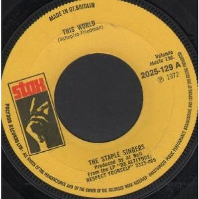 """STAPLE SINGERS This World 7"""" VINYL B/W Are You Sure (2025129) Large Centre Hole"""