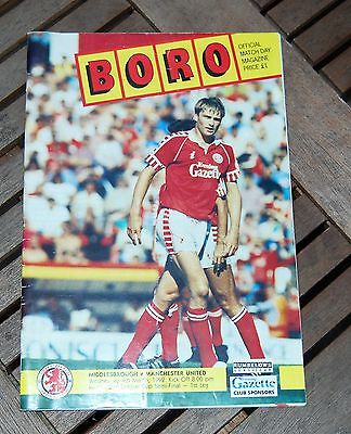 Middlesbrough v Manchester United 1992 League Cup Semi Final Football Programme