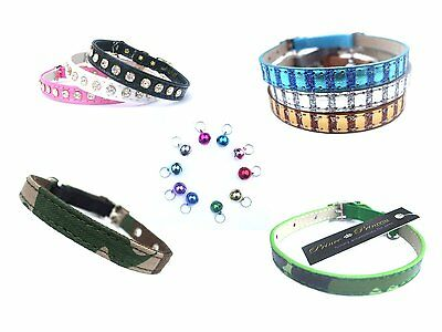SALE! SAFETY CAT COLLARS + FREE BELL CHARM, Crystal Army Leopard Pink Blue BNWT