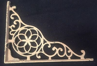 "Antique Ornate Victorian 9.75"" Shelf Support Bracket Vtg Cast Iron Rustic Decor"