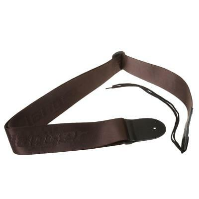 Adjustable Nylon Strap Leather Ends for Electric Acoustic Guitar Bass Brown
