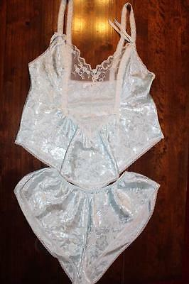 Vtg Gorgeous Satin Poly French Knickers & Cami Top Set Size M