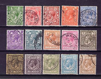 GB KGV 1912-24 1st WMK 1/2d TO 1/- GOOD TO FINE USED SET CAT £95