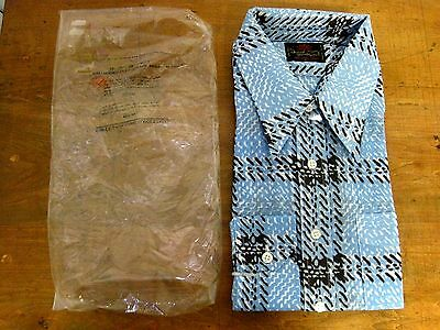 NEW Men's David Hanson 1970's Hippie Retro Mod Deadstock Nylon Shirt Size XL