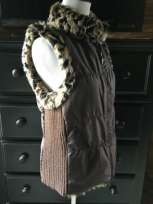 Chico's Sleeveless Faux Fur Reversible Vest, Pockets - Size 1 (Med)