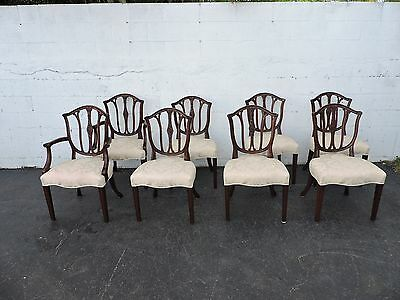Set of 8 Vintage Solid Mahogany Shield Back Dining Chairs  8031X