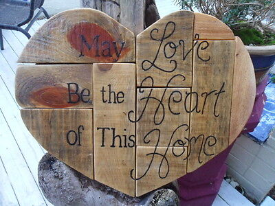 Large Heart Shabby Chic Wooden Heart Wall Plaque - Hand Made