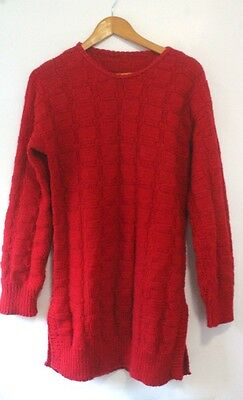Vintage Hand Knitted Red Wool Long Jumper Dress 1980s Size S-M Retro Blogger