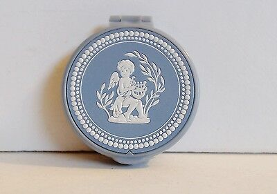 Avon Solid Perfume Compact White Enamel Angel Blue Plastic Full Unnamed Scent