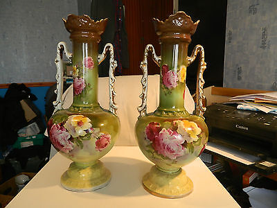 Pair of Large Decorative China Two Handled Vases