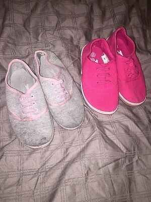 Kids Slazenger Pumps Size 8 Pink And Grey