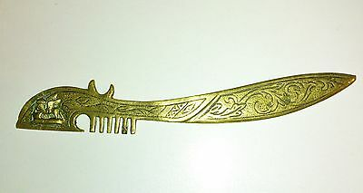 Antique Middle Eastern / Persian / Islamic Brass Letter Opener With Winged Lion