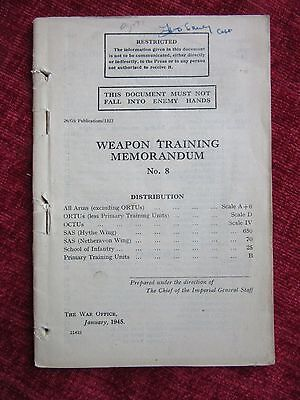 1945 WW2 Weapon Training Memorandum No.8 War Leaflet Small Arms Home Guard FC25
