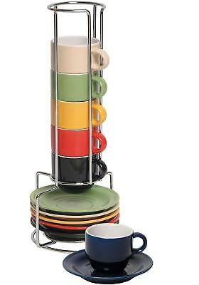Ceramic Espresso Cups and Saucers Set - Colorful Stacking Mugs With Rack