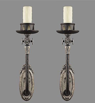 Early Electric Tudor Victorian Brass Wall Sconces c1930 Vintage Antique Black Li