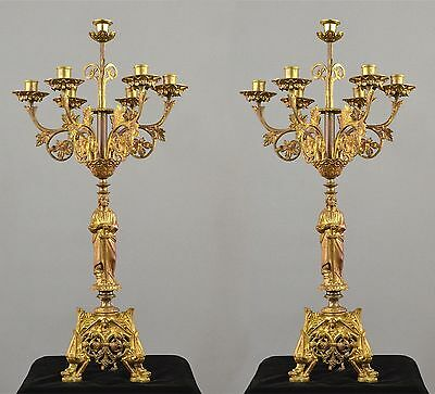 Pair Period Antique French Gilded Bronze Figurative Candelabra Chandelier 1880