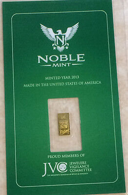 Noble Mint sealed   Bullion Bar  .999  pure gold  24 ct