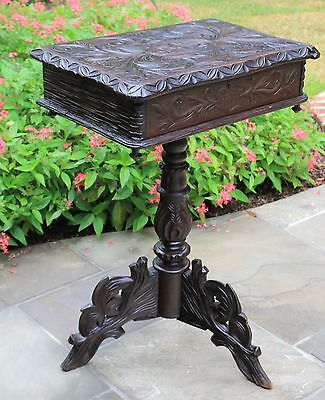 Antique French Oak Carved Black Forest Lift Top Sewing Table Box on Stand RARE