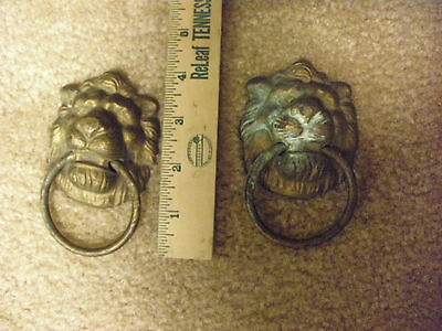 Vintage Brass Lion Head Drawer Pulls