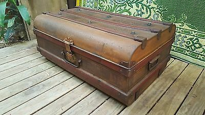 Vintage Metal Steamer Car Travel Trunk Chest Antique Blanket Storage