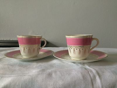 Antique 2 Pink Sunderland Cups And Saucer
