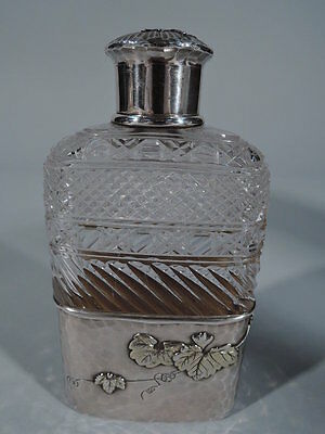 Tiffany Flask - 5696 - American Applied Sterling Silver & Brilliant Cut Glass