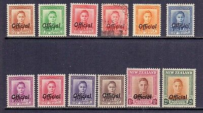 New Zealand. 11 LH MInt and 1 used KG6 stamps with Official overprints. 1938-51