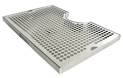 "Kegco SECO-1610D 16"" x 10"" Surface Mount Drip Tray with Drain - 3"" Cut-Out"