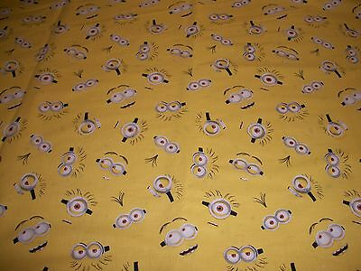 Minion Eyes on yellow   cotton     crib/toddler fitted sheet