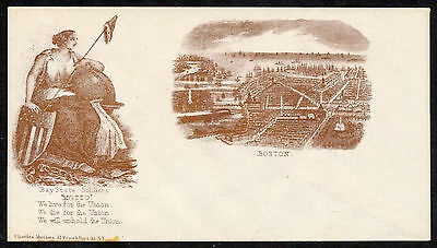 Magnus Civil War Cover Panorama of Boston, Lady Liberty We WIll Die for Union