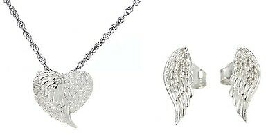 Angel Wing Sterling Silver S925 Pendant Chain and Earrings Set with free Pouch