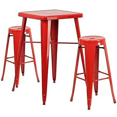 Indoor-Outdoor Table Set Backless Red